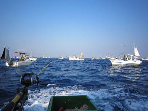 釣り船の集団